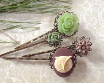 Woodland Owl And Floral Hair Clips
