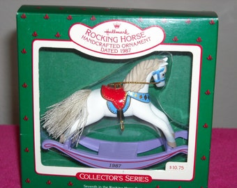 Hallmark Rocking Horse/New in Box With Price Tag/7th in The Series,Purple base/Palomino/Dated 1987/Must Have For Collectors!