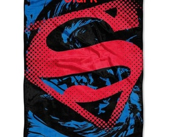 "Superman ""Super Rip Shield"" 46"" x 60"" Micro Raschel Throw Personalized - Monogrammed"