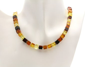 Multicolored Amber Necklace,Amber Necklace,Amber Beaded Necklace,Amber Cube Necklace,Natural Amber Jewelry,Beaded Necklace (DO-282)