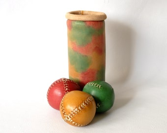 Set of 3 leather juggling balls and case