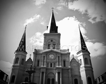 St. Louis Cathedral, New Orleans, Jackson Square, Louisiana, Photograph, Black and White Print, Wall Art-Unforgetable Fire
