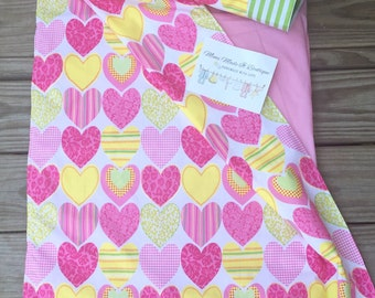Kindermat covers with attached blanket and pillowcase. All Hearts - kindermat covers!