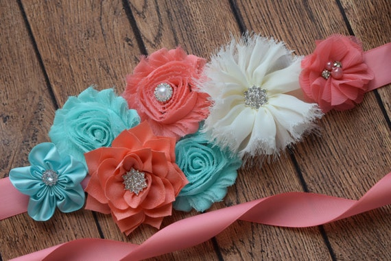 Sash, Aqua , coral and ivory Sash, #2 , flower Belt, maternity sash