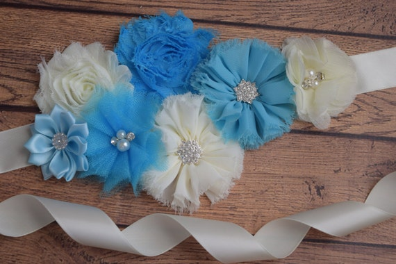 Sash,Blue, and ivory Sash , flower Belt, maternity sash