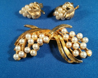 Vintage Seed Pearl Earrings and Brooch