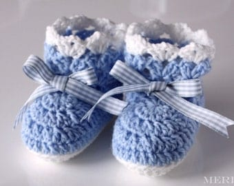 Blue & White Lacey Crochet Baby Booties