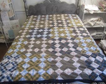 Vintag Plaid X Pattern Quilt Top