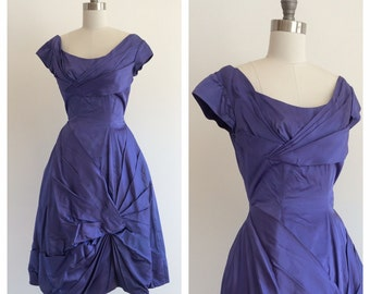 Vintage 1960's Violet / Blue Satin Party Dress with Asymmetrical pleats