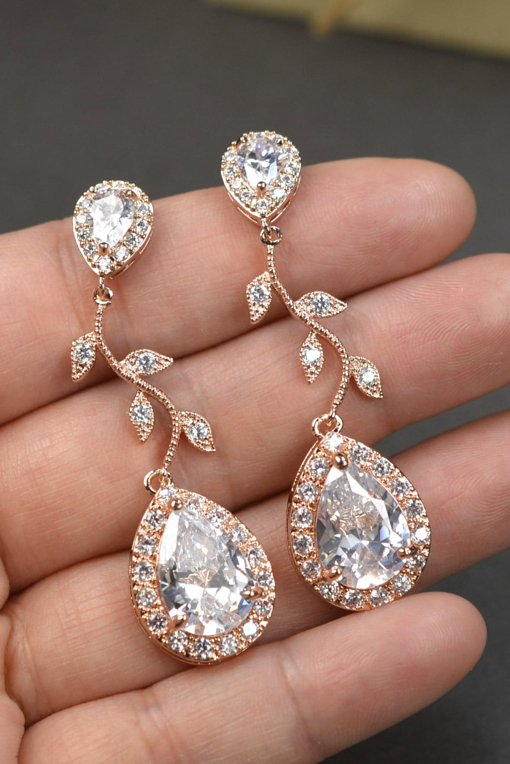 Rose Gold Crystal Bridal Earrings Wedding Jewelry Set Wedding