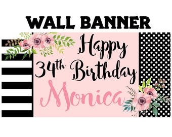 Happy Birthday Banner  ~ Birthday Blush Personalized Party Banners- Large Photo Banner
