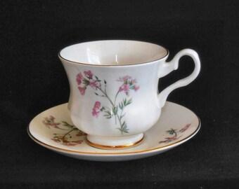 Royal Grafton Cup & Saucer Bone China Pink Floral pattern Vintage circa 1960s