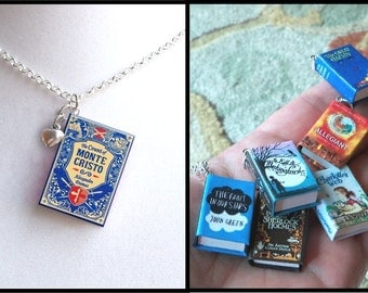 The Count Of Monte Cristo with Tiny Heart Charm -Micro Mini Book Necklace