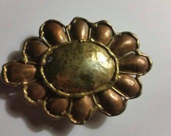 Vintage Copper and Brass Belt Buckle Flower Boho Hippie