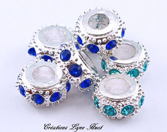 Choose 1, 3 or 5 European style charm beads tibetan silver, with blue rhinestones!