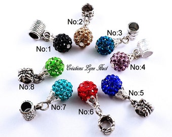 A choice ! Charm disco balls shaped, the price is for a charm, 8 colors available ! European bead