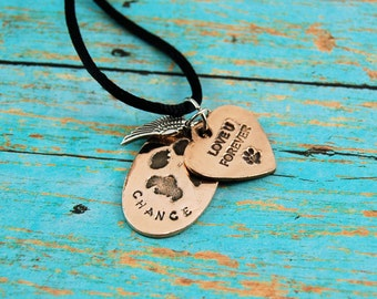 Memorial Pendant With Your Puppy or Kitty's Pawprint, Real Paw Print Pendant, Real Dog Print, Real Cat Print, Dog Print Pendant, Pet Loss