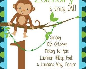 Monkey Birthday Invitation, Swinging Monkey, Monkey Invitation, Monkey Party, First Birthday, Kids Birthday, DIY/PDF Printable