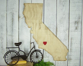 Wood California State Map I Heart California Sign Where We Met Where We've Been California State Map Silhouette Distressed California Art