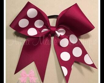 Maroon and white polka dot tic tock cheer bow!!