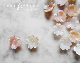 2pcs ∙ Seashell Sakura Beads Flower Natural Mother of Pearl Cherry Blossom Earring Jewelry Supplies (8mm, 10mm, 12mm)