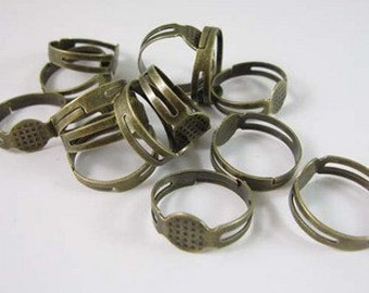Antique Bronze Adjustable Ring Base Ring Blanks with 8mm glue pad