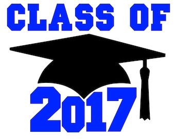 Graduation Hat 2017 Glitter or Plain Vinyl iron on decal multiple sizes and colors