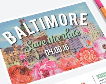 Vintage Baltimore Save the Date Card or Postcard