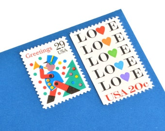 Holiday Love Stamp Set - Vintage Postage Stamps for your Holiday mailings! Mint!