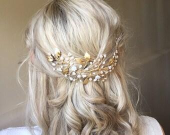 Woodland Wedding Hairvine - Gold Leaf, Pearl, Crystal bridal hair accessory, hairpiece, vine, headdress, tiara