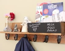 Coat Rack - 6 Hook with Mail Slot and Chalkboard Rustic Coat Rack