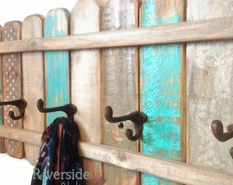 Teal and Gray Wood Coat Rack Handmade / Cast Iron Coat Hook / Shabby Cottage Beach Chic Coat Rack, Bohemian Furniture, Bathroom Towel Rack