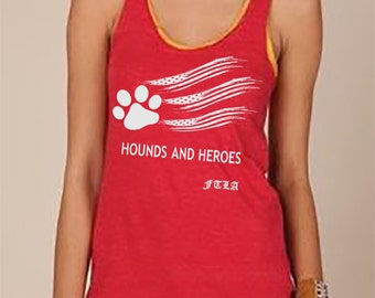 Hounds and Heroes Eco Jersey Racerback Tank Eco Red