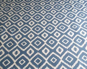 Luxury Made to Measure Roman Blind in blue and white Nazca John Lewis fabric