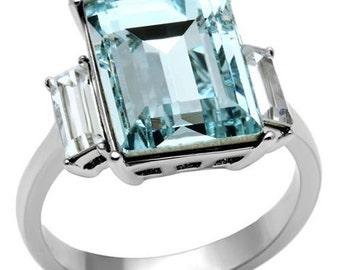 9.10 CTW Radiant Cut Aquamarine Engagement or Wedding Ring, Bridal or Anniversary Band, 14mm Aquamarine Gemstone and Diamond Simulant Ring