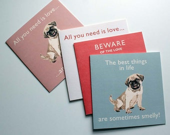 Pug Vintage Style Greetings Card