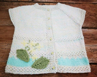 Knitted Baby Clothes, Matinee Cardigan, Vest 18-24m, Unique Baby Vest, Gift Idea, Soft Knit Baby Girl