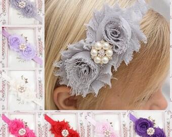Toddler Shabby Chic Boho Headband , Wedding Flower Girl Flowers Headband, Child Wedding Headband