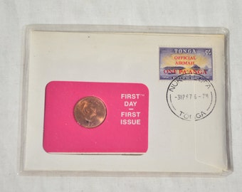 Vintage 1976 Tonga First Day Issue Numismatic Commemorative Coin Stamp Airmail Postage Set