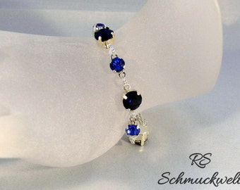 Crystal bracelet tennis elbow band Crystal sapphire blue bridesmaid gift wedding engagement gift for Christmas