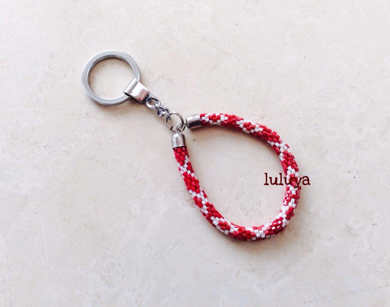 nepal beaded bead handmade keychain key fob wristlets silver