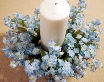 Spring Wreath, Blue Flowers Beach Lantern Swag, Lamp Ring,Blue, Small Wreath