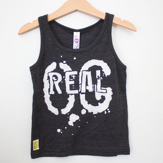 Toddler tri blend black tank top // American Apparel brand // REAL OG (original)