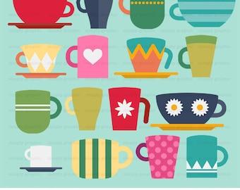 Coffee Mug, Clipart, Clip Art, Instant Download, Coffee Shop, Sign, Teacup, Tea Cup, Tea Party, Scrapbooking, Digital Graphics c336