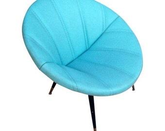 Mid-Century Turquoise Clam Saucer Vinyl Chair