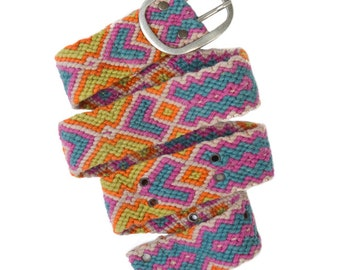 SALE  Belt meticulously knotted geometric designs, fair trade from Peru