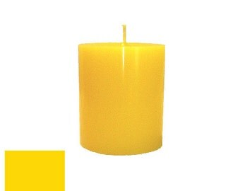 3 x 3.5 Yellow Classic Hand-poured Unscented Pillar Candles Solid Color