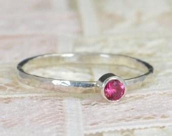 Ruby Engagement Ring, Sterling Silver, Ruby Wedding Ring Set, Rustic Wedding Ring Set, July Birthstone, Sterling Silver Ruby Ring