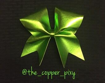 Metallic lime green cheer bow