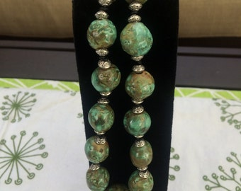 Handmade ceramic beads, necklace